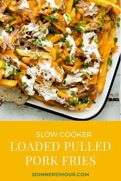 Loaded Pulled Pork Fries - 5 Dinners In 1 Hour Slow Cooker Recipes, Cooking Recipes, Shredded Pork, Quick Easy Dinner, Salad Ingredients, Side Salad, Food For A Crowd, Easy Dinners, Baked Chicken