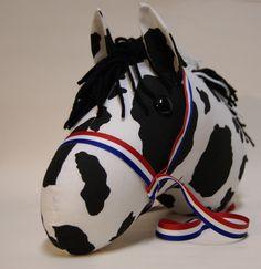 Black and White Pinto  Stick horse head. $32.00, via Etsy.