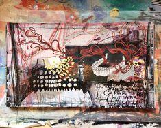 'jawbone' art journal spread by artist Roxanne Coble (aka, BY BUN)