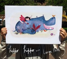 Hippo, art for kids - Middle Size Print. $15.00, via Etsy.