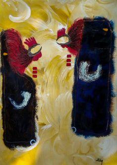 """Saatchi Online Artist ABBA ARTIST; Painting, """"chickens fight """" #art"""