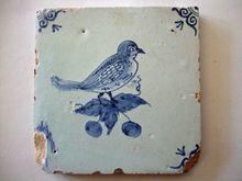 Antique Delft Tile Bird on Berry twig Delft Tiles, Blue Tiles, Mosaic Tiles, Antique Tiles, Antique Pottery, Pottery Art, Chinoiserie, Rainbow Art, Decorative Tile