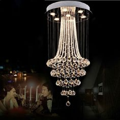 Contemporary crystal chandelier lighting fixtures ceiling Lamp LED pendant light