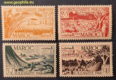 Maroc Français (Morrocco,  Maroko) YT 271-274 * #timbre #stamp #znamky #philatelie #philately #filatelia French Colonial, France, Vintage World Maps, Stamps, Rare Stamps, Morocco, Seals, Postage Stamps, Stamp