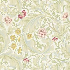 Leicester Wallpaper from William Morris Archive Wallpapers 2 Collection. A block printed inspired floral wallpaper of coral pink and yellow flowers and flowing leaves in a light sage on a pale green background. Lily Wallpaper, Wallpaper Online, Print Wallpaper, Fabric Wallpaper, Wallpaper Designs, Hallway Wallpaper, Scenic Wallpaper, Amazing Wallpaper, Bedroom Wallpaper