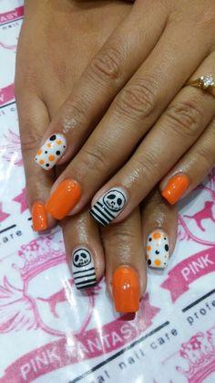 Jack halloween Diseño en acrilico con puntos negros y naranjas Pink Fantasy Black Dots, Orange, Maquillaje