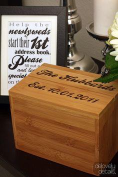 Guest Address Box #etsy #wedding #bride #woodburning #pyrography