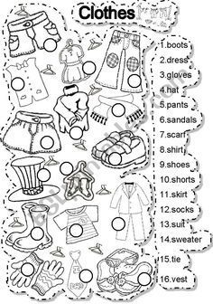 Clothes - ESL worksheet by gabitza Vocabulary Worksheets, Preschool Worksheets, English Vocabulary, English Teaching Materials, Teaching English, Learn English, Vocabulary Clothes, English Worksheets For Kids, English Lessons For Kids
