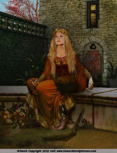 Queen Guinevere painting art medieval dress clothing arthurian