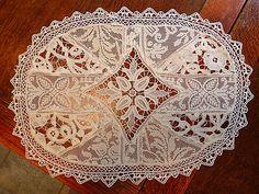 Em's Heart Antique Linens -Antique Linen Normandy Lace Pieced Mats Set