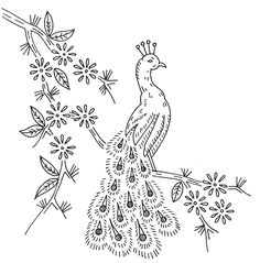 Vintage embroidery pattern - peacock