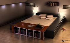 Sleek modern bed design.