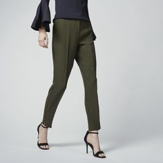 Warehouse, SLIM LEG TROUSERS Dark Green 1