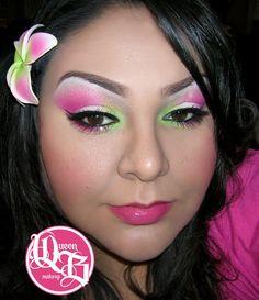 hawaiian wedding flower pink and green via The original queen b makeup