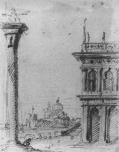 Canaletto (Giovanni Antonio Canal) ~ The Piazzetta Looking towards S. Maria della Salute, c.1727 (ink)