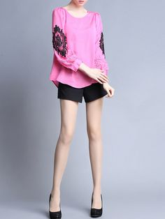 Deep Pink Paneled Cotton Long Sleeved top