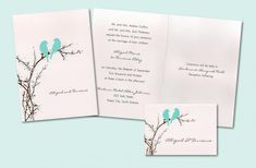 Serene nature-inspired wedding invitations, with bird silhouette, in white, chocolate brown, and whi