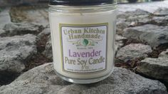 Lavender pure Soy Candle - 8 oz., Soy Candle, Glass Candle, candle wick by urbankitchen on Etsy