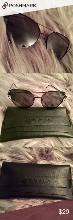 BNWT Trendy Aviator Sunglasses 😎 • Never worn • Comes with: box, case, cleaning cloth, and screw • Classy black and semi reflective lens • Delicate frame but high quality Vivien Fang Accessories Sunglasses