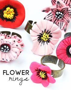 Clay Flower Rings Tutorial