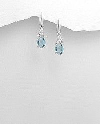 Sterling Silver Blue CZ Earrings