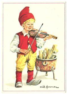 Swedish Erik Forsman Art Postcard Boy Gnome?