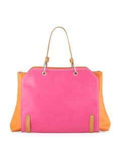 Jillian+Tonal+Faux-Leather+Tote+Bag,+Pink/Orange+by+Neiman+Marcus+at+Neiman+Marcus+Last+Call.