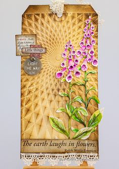 Layers of ink - Foxglove Tag Tutorial by Anna-Karin Evaldsson. Craft Stick Crafts, Paper Crafts, Diy Crafts, Hand Flowers, White Gel Pen, Handmade Tags, Artist Trading Cards, Gel Pens, Flower Cards