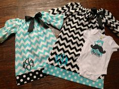 Two-Aqua and Black Chevron Sisters Dresses and Brother Mustache Birthday Number Shirt
