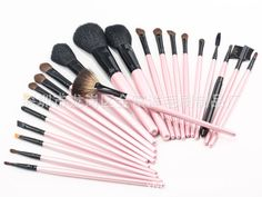 ISMINE hot 23pcs/Set PINK make up brush set eyebrow pencil Blending Foundation Blush Eye Shadow Powder Brush Toiletry Kit Case