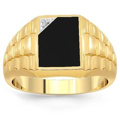 10K Yellow Gold Mens Diamond Onyx Ring 0.03 Ctw