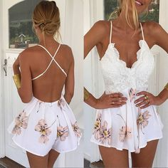 Buy 2017 Summer Women Ladies Clubwear V Neck Playsuit Bodycon Party Jumpsuit&Romper Trousers at Wish - Shopping Made Fun Boho Jumpsuit, Playsuit Dress, Floral Playsuit, Short Jumpsuit, Backless Playsuit, Bodycon Jumpsuit, Fitted Jumpsuit, Short Overalls, Summer Jumpsuit