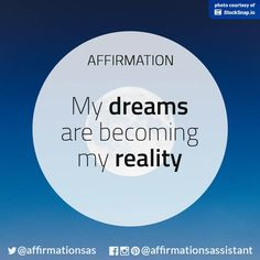 My dreams are becoming a reality Positive Vibes Only, Positive Thoughts, Positive Quotes, Motivational Quotes, Inspirational Quotes, Positive Motivation, Morning Affirmations, Love Affirmations, Mantra