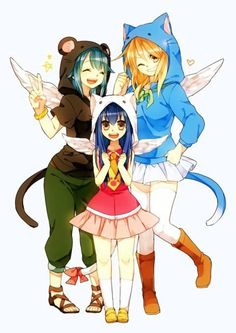 Fairy tail: Lucy dressed as Happy, Wendy dressed as Carla and Levy dressed as Pantherlily Fairy Tail Lucy, Fairy Tail Nalu, Image Fairy Tail, Fairy Tail Girls, Fairy Tail Ships, Fairy Tail Happy, Fairy Tail Erza Scarlet, Fairytail, Gruvia