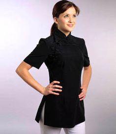 Spa uniform on pinterest hotel uniform boutiques and grey for Spa uniform amazon