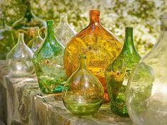 Vintage wine bottles, beautiful colors, green bottles, yellow bottles