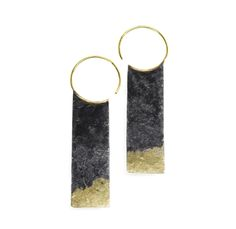 Oxidized Sterling earrings with fused 18k Recycled Gold. Solid 18k earwires. Sophie Hughes