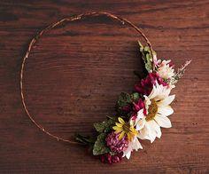 "Rustic Asymmetrical Floral Crown, Half Flower Crown, Marsala, Pink, Ivory,Fall Wedding, Woodland Boho Wildflowers, Autumn Wedding, ""Linda"""