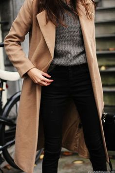 Camel coat, gray knit sweater, and black jeans. A classic and stylish uniform for winter.