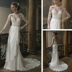 China Wedding Dress, White Bride Dress with Lace Top, Low Back Wedding Gown, Long Sleeve Wedding Dress $190.00