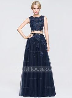 [US$ 176.69] Ball-Gown Scoop Neck Floor-Length Tulle Lace Prom Dress With Beading Sequins (018089698)