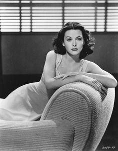 Hedy Lamarr, beautiful.  I do love the corduroy sofa/chair.