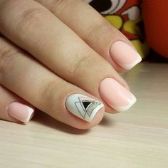 French nails with geometric print French nails with geometric print, You can collect images you discovered organize them, add your own ideas to your collections and share with other people. Nail Art Cute, Cute Acrylic Nails, Love Nails, Fun Nails, Pretty Nails, Minimalist Nails, French Nails, Nagel Gel, Stylish Nails