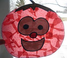 Easy, no-mess Veggie Tales stained glass craft for the kiddos - what a cute idea!