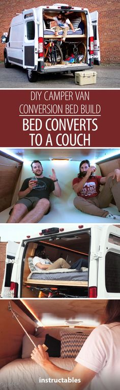 DIY Camper Van Conversion Bed Build, Bed Converts to a Couch! #VANLIFE #woodworking #travel