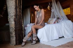 Tribal Fringe Layer by Layer Boots. Botas étnicas. Handmade boots coins pompones flecos fringe. Model:Mireia Canalda Bohemian boho style