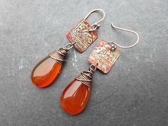 Orange agate copper wire wrapping, copper patina charms, earrings.