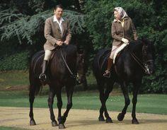 Queen Elizabeth II rides on horseback with American President Ronald Reagan in 1982 [Popperfoto/Getty Images] President Ronald Reagan, House Of Windsor, British Monarchy, American Presidents, I Am A Queen, Prince Philip, Horse Love, Queen Elizabeth Ii, Horseback Riding