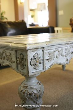 French Style Coffee Table Makeover Using ASCP, Light Wax  Dark Wax - Explains steps  colors used