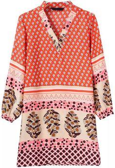 Orange V Neck Florals Loose Dress 17.67